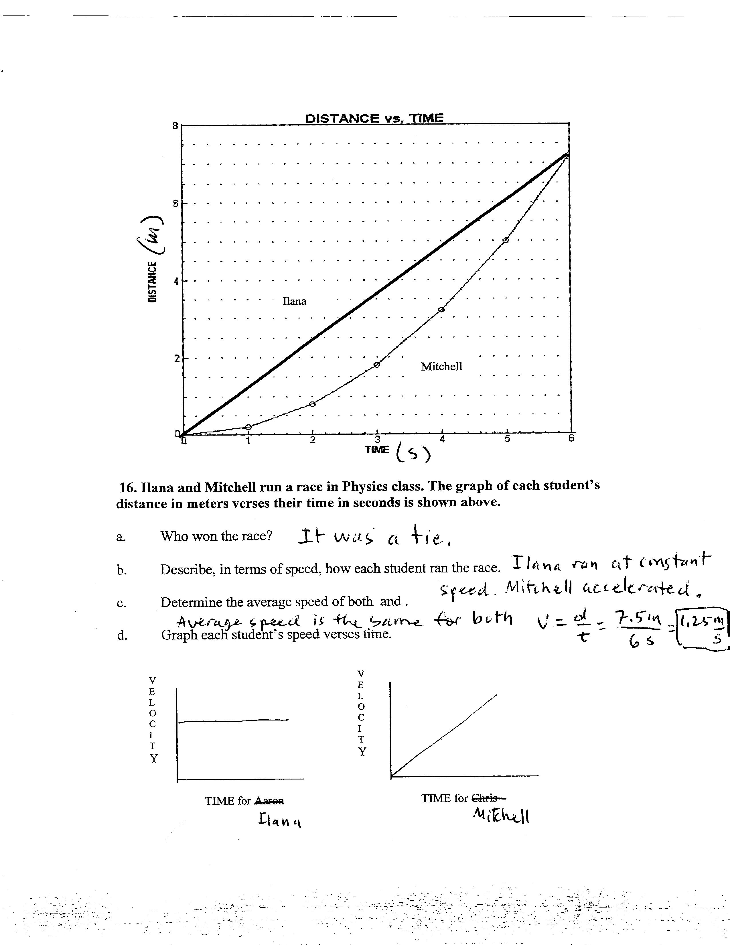 worksheet Graphing Distance Vs Time Worksheet Answers accelerated homework week of september 26