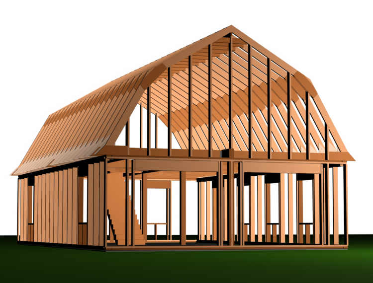 24 x 24 pole building rafter roof loft joy studio design Gambrel roof pole barn