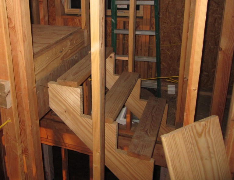 Attic Stairs From The Landing Going Up: